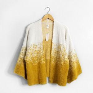 NWT AKEMI+KIN Anthropologie Yellow Fuzzy Cardigan